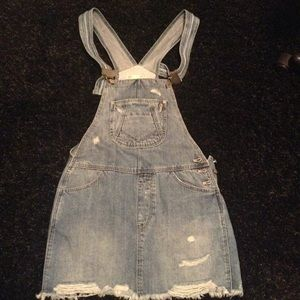Zara Denim Bib Skirt